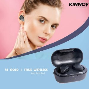 Kinnov F6_Gold True Wireless Earbuds TWS Bluetooth V5.0 Earphone with Magnetic Charging Case, Superior AIROHA Chipset, iOS & Android Compatible, Supports SIRI & Google Assistant, IPX6 Waterproof