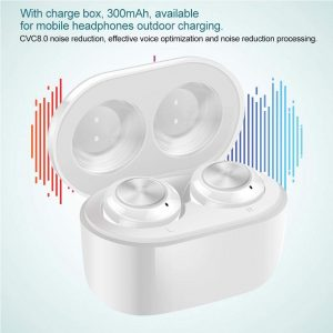 KECHAODA BT1 TWS Wireless Stereo Bluetooth 5.0 Earbuds Portable Noise Reduction Earphone for Games/Listening to Music/Talking (White)