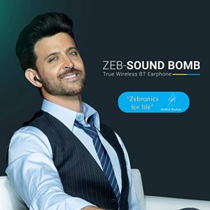 Zeb-Sound Bomb True Wireless Earphone Supports Voice Assistant, Call Function,6hrs Playback Time with Charging Case (Black) – (Renewed) Zebronics